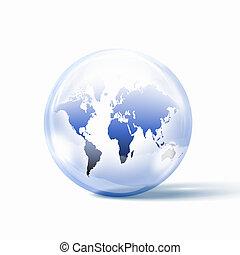 vetro, dentro, mondo, sfera