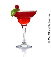vetro, di, alcool, cocktail, con, calce, e, ciliegia, isolato