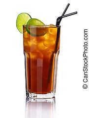vetro, di, alcool, cocktail, con, calce, isolato, bianco