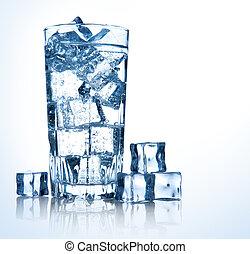 vetro, di, fresco, fresco, annaffi ghiaccio