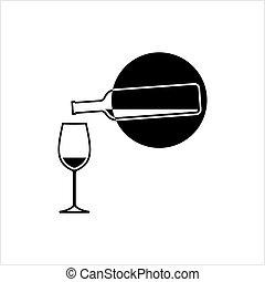 vetro, disegno, bottiglia, vino