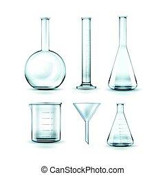 vetro, fiaschi, laboratorio