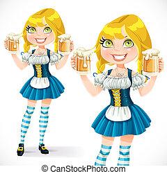 vetro, fondo, isolato, ragazza, biondo, birra, bianco, carino