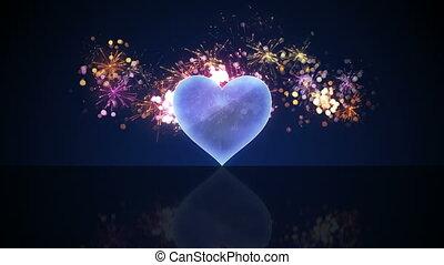 vetro, forma cuore, e, fireworks, cappio, animazione