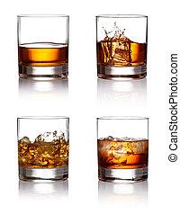 vetro, ghiaccio, whisky, fondo, bianco, scotch