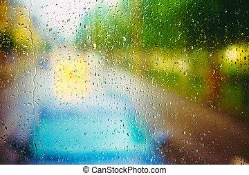 vetro, gocce, pioggia
