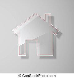 vetro, icon., vettore, illustrazione, casa