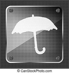 vetro, icona, previsione, fondo, metallico