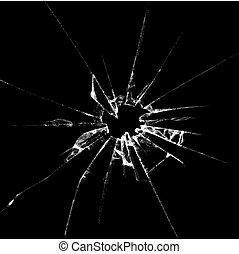 vetro, illustrazione, realistico, rotto