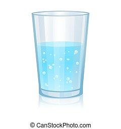 vetro, isolato, illustrazione, acqua, fondo., vettore, bianco