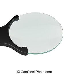 vetro, isolato, interpretazione, fondo, bianco, ingrandendo, 3d