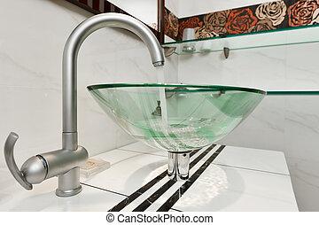 Bagno minimalismo moderno ciotola vetro lavandino interno - Lavandino bagno vetro ...