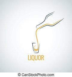 vetro, liquore, colpo, bottiglia, fondo