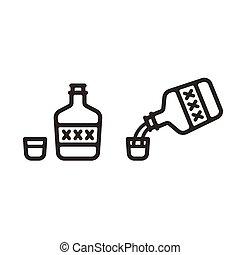 vetro, liquore, colpo, bottiglia