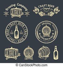 vetro, logos, vecchio, birra chiara, segni, set., birra chiara, labels., mano, birra, vettore, retro, bottiglia, sketched, kraft, ecc., fabbrica birra, barile