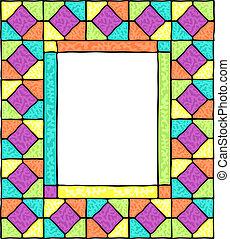 vetro, macchiato, frame., disegnato