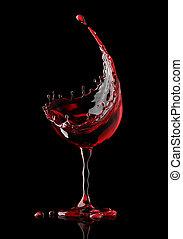 vetro, nero rosso, fondo, vino