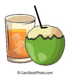 vetro, noce di cocco, bevanda