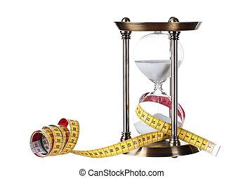 vetro, orologio, metro a nastro