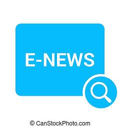 vetro, ottico, e-news, parole, ingrandendo
