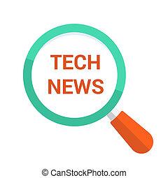vetro, ottico, tecnologia, parole, notizie, ingrandendo