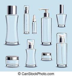 vetro, pacchetto, set, cosmetica, realistico