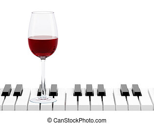 vetro, pianoforte, isolato, chiave, vino