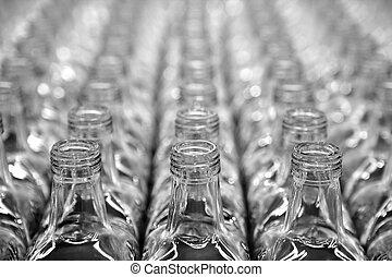 vetro, quadrato, trasparente, bottiglia, file