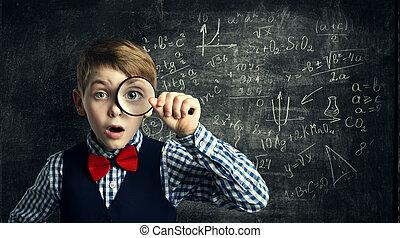 vetro, ragazzo, scuola, matematica, studio, stupito, studente, bambino, magnificatore, educazione, capretto, ingrandendo, matematica
