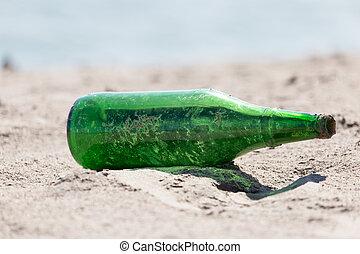 vetro, sabbia, bottiglia