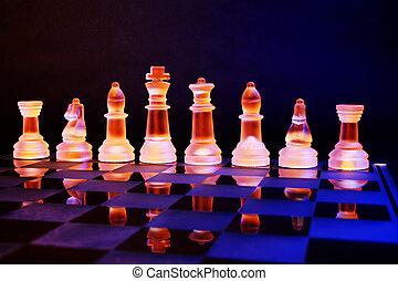 vetro, scacchiera, scacchi