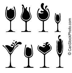 vetro, schizzo, silhouette, vino