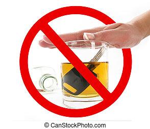 vetro, segnale, alcool, proibizione