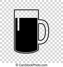 vetro, segno., fondo., birra, nero, trasparente, icona