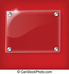 vetro, sfondo rosso, piastra