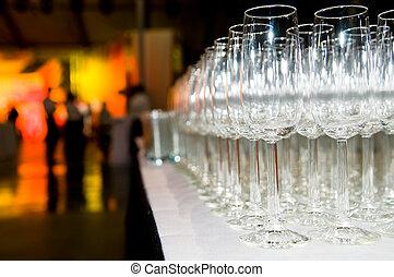 vetro, stemware, mucchio, festa