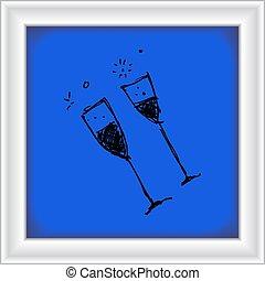 vetro, stile, set, cartone animato, vino