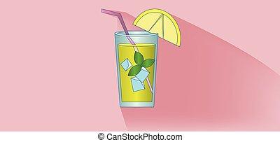 vetro, stra, limonata, cocktail