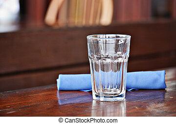 vetro, su, uno, tavola, a, ristorante