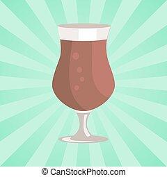 vetro, tazza, gamba, tulipano, birra, vettore, trasparente