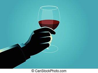vetro, titolo portafoglio mano, vino