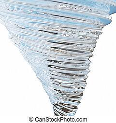 vetro, tornado, astratto, isolato, interpretazione, fondo, bianco, 3d
