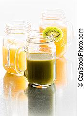 vetro, tropicale, succo, frutta, fresco, vasi