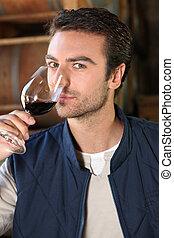 vetro, uomo, inclinare, vino