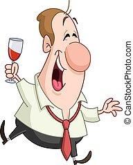 vetro, uomo, vino