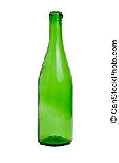 vetro, verde, bottiglia vuota
