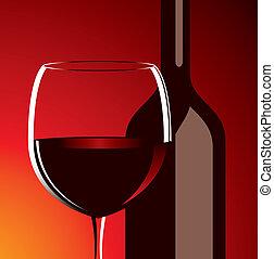vetro, vettore, bottiglia, vino