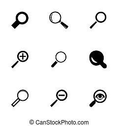 vetro, vettore, set, ingrandendo, icone