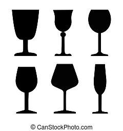 vetro, vettore, vino, illustrazione, set-