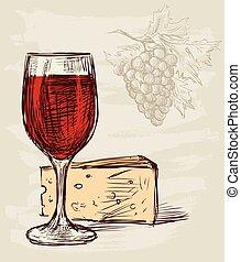 vetro vino, formaggio